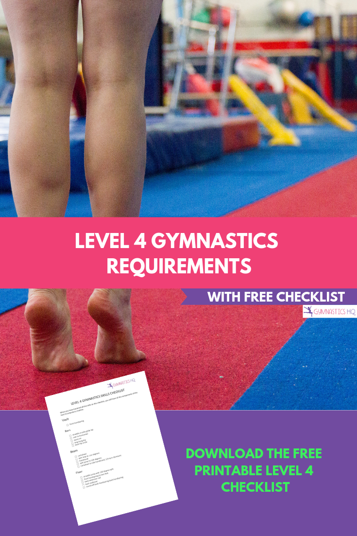 Level 4 Gymnastics Requirements with Free Checklist