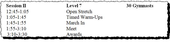 gymnastics meet schedule