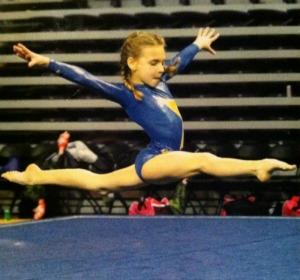 gymnast doing split leap