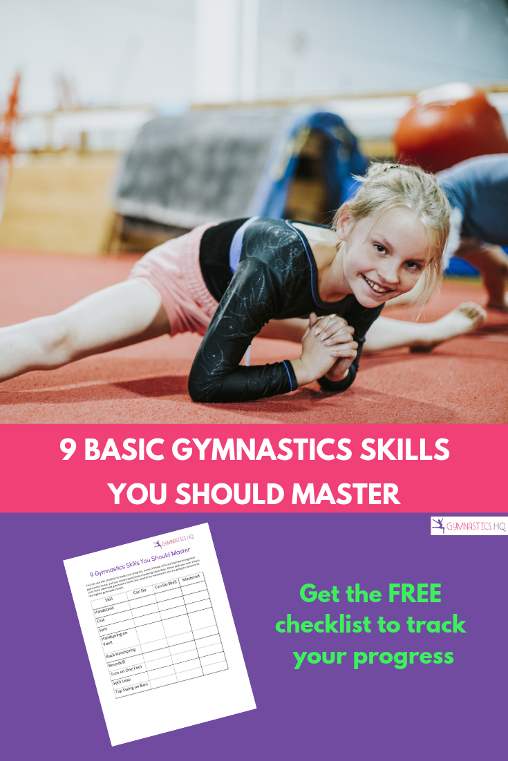 Want to know the 9 basic gymnastics skills you should learn? Check out this post along with a free chart to track your progress.