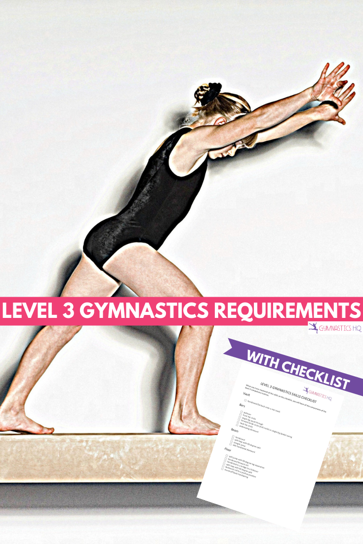 Ever wonder what skills are required for Level 3 gymnastics? Check out this free checklist of skills.