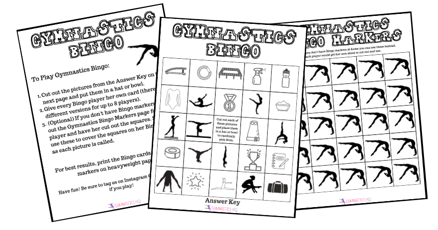 Gymnastics Bingo Game