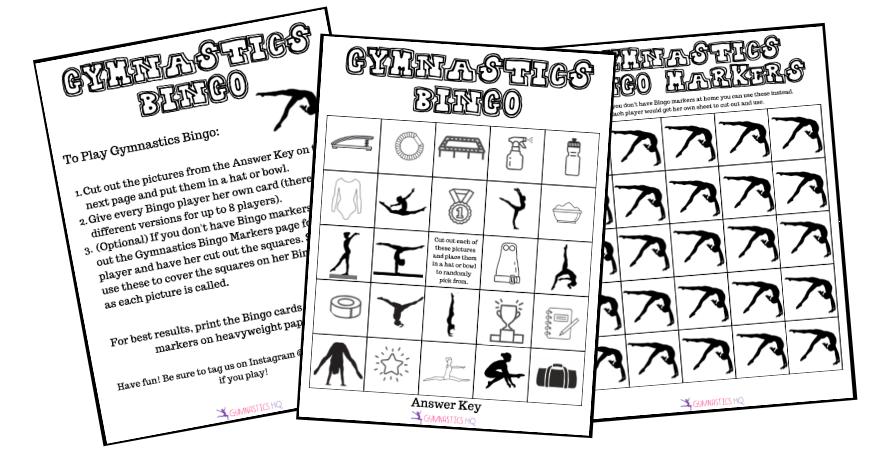 Gymnastics Bingo Game