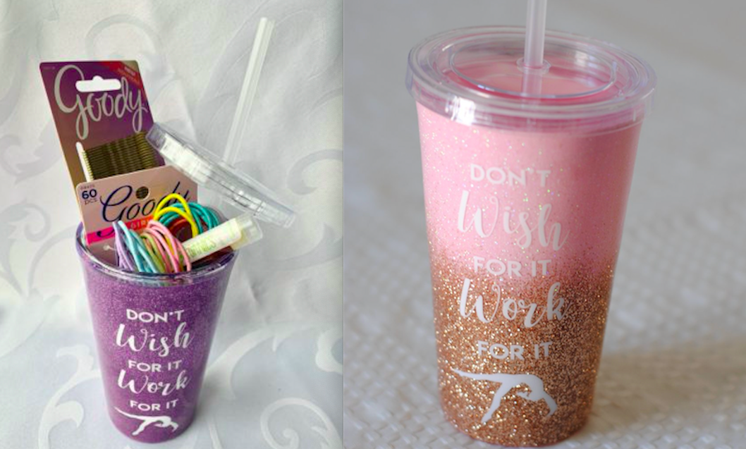 Looking for a good idea for a gymnastics party favor? Stuff these gymnastics water bottles with hair ties.