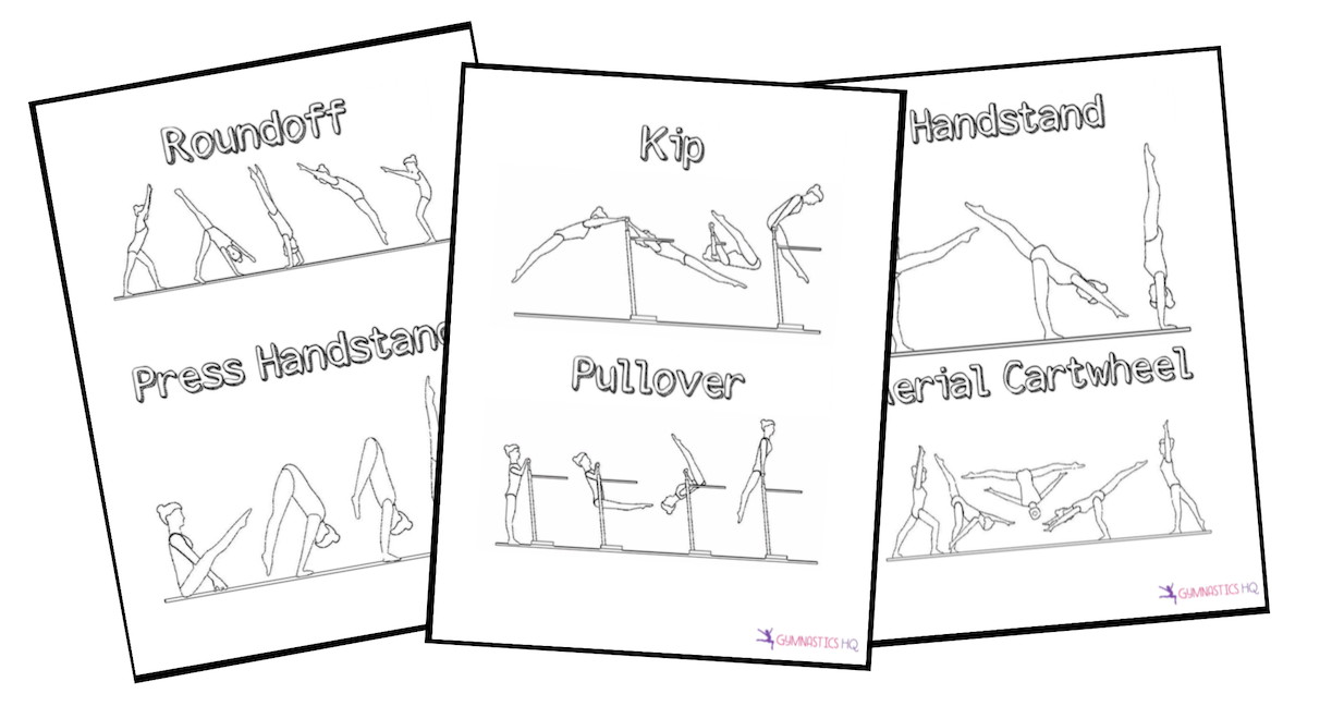 Gymnastics Coloring Pages are a fun activity for your next gymnastics party.