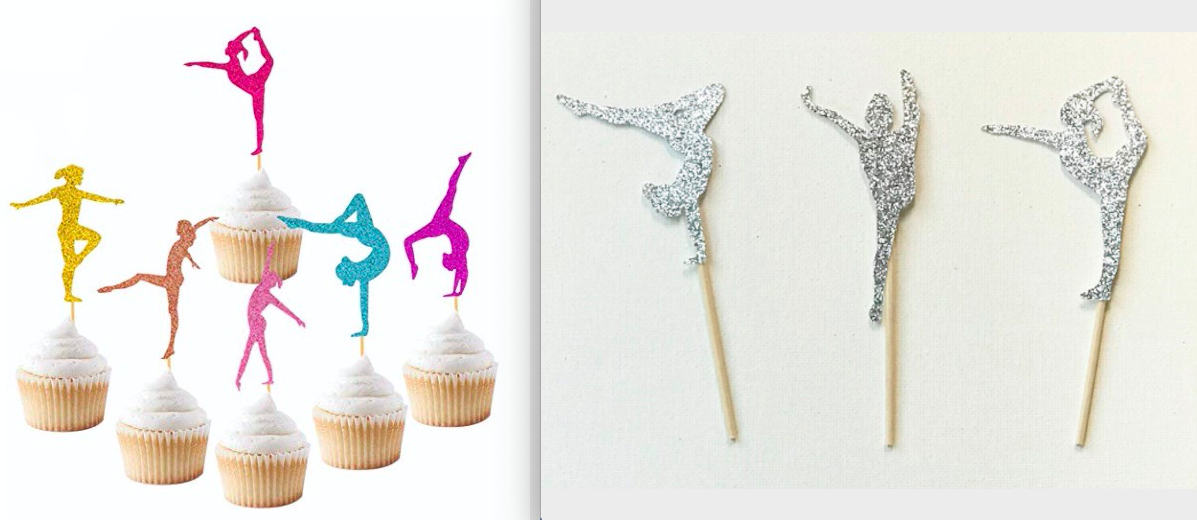 Want to add some glittery sparkle to your gymnastics cupcakes? Check out these cute gymnastics toppers.