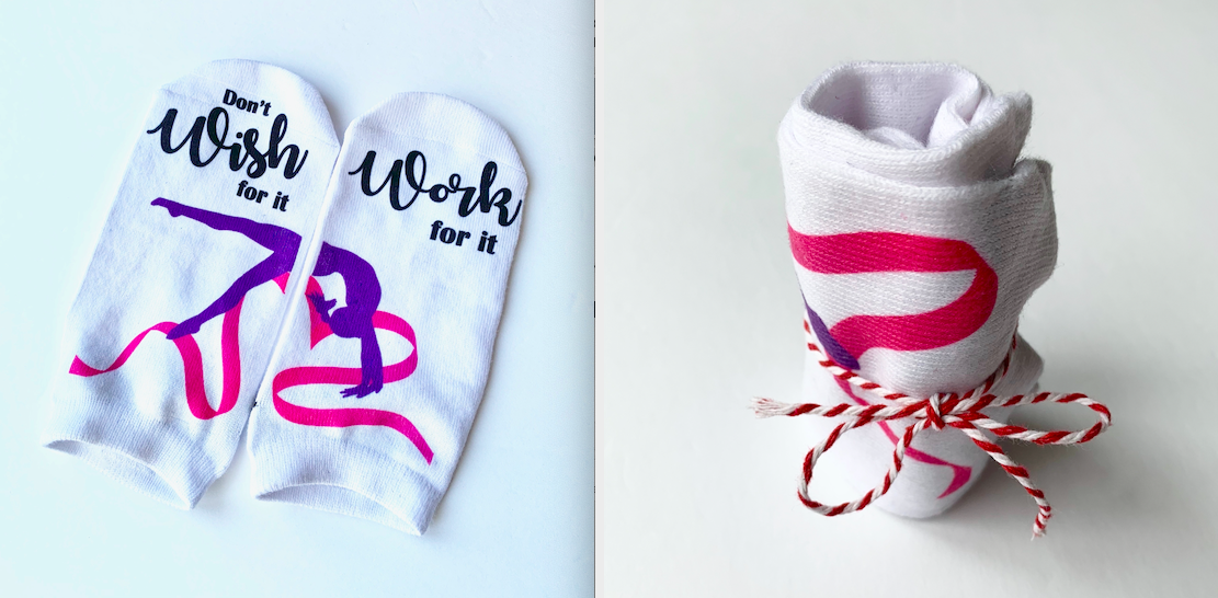 Looking for gymnastics party favors? These gymnastics socks are a great favor.