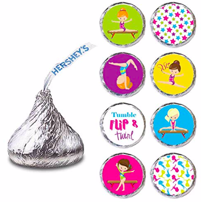gymnastics stickers for Hershey's kisses