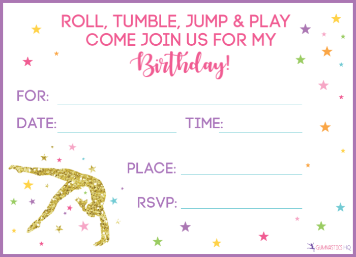 This is an image of Free Printable Gymnastics Birthday Invitations regarding fourth birthday