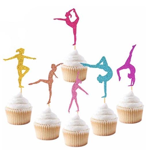 glittery gymnastics cupcake toppers