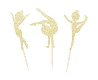 Gymnastics Glitter Cupcake toppers