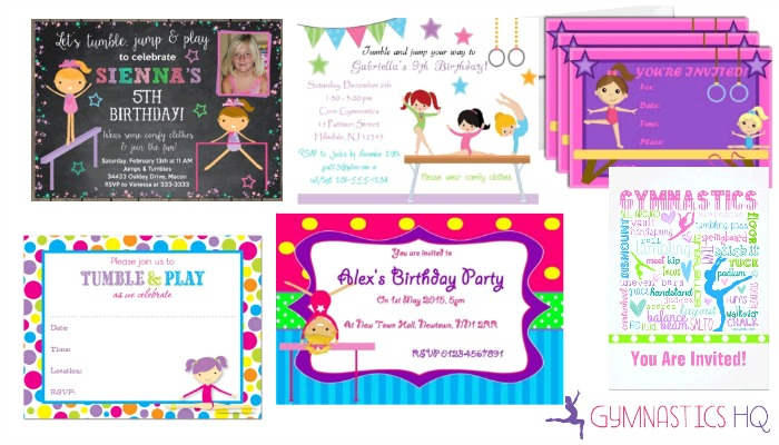 Gymnastics Party Ideas Supplies for a Home or Gym Party – Gymnastics Party Invitation