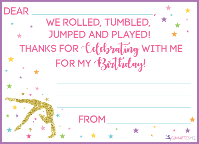 gymnastics party thank you card