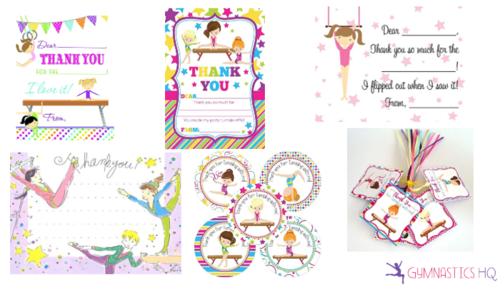 gymnastics party thank you cards