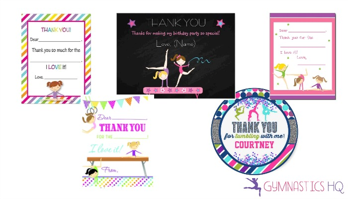 gymnastics thank you cards