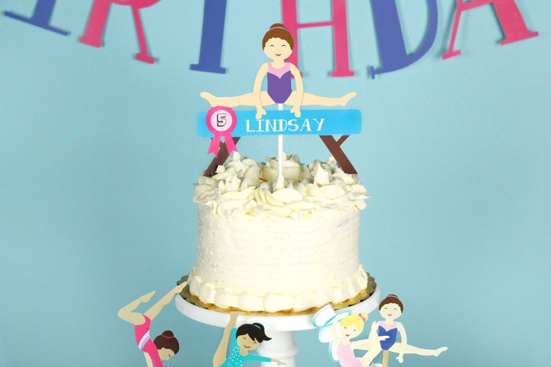 gymnastics birthday party cake topper