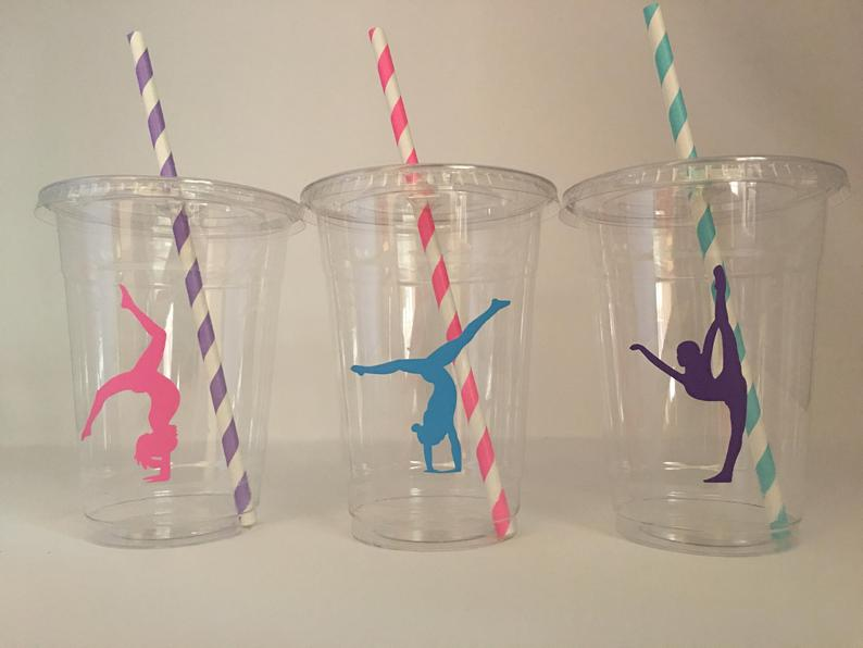 gymnastics birthday drinking cups