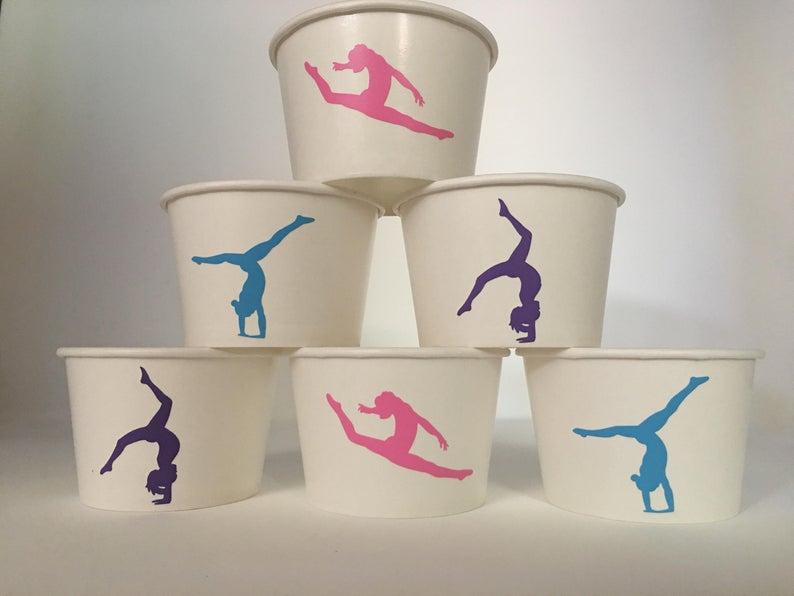 gymnastics party snack cups