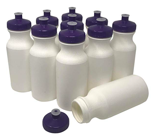 gymnastics water bottles to decorate for a gymnastics party