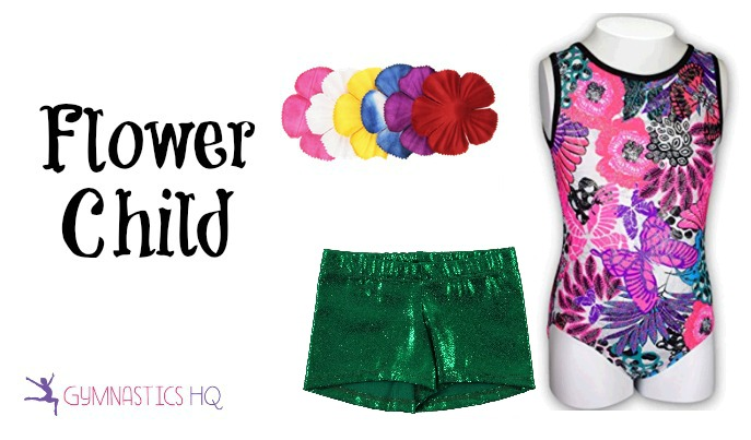 flower child halloween costume with gymnastics leotard