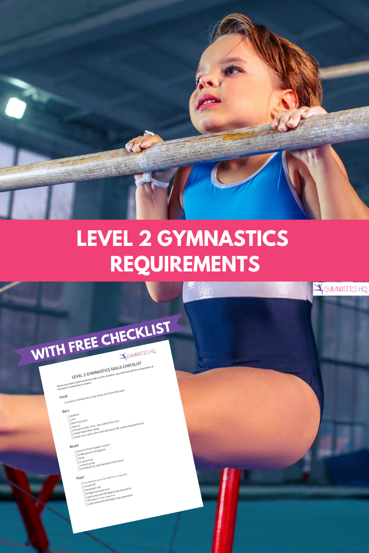 Here is a list of Level 2 Gymnastics requirements with free printable checklist of skills.