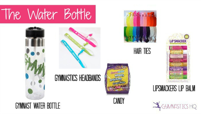 gymnastics water bottle party favor idea
