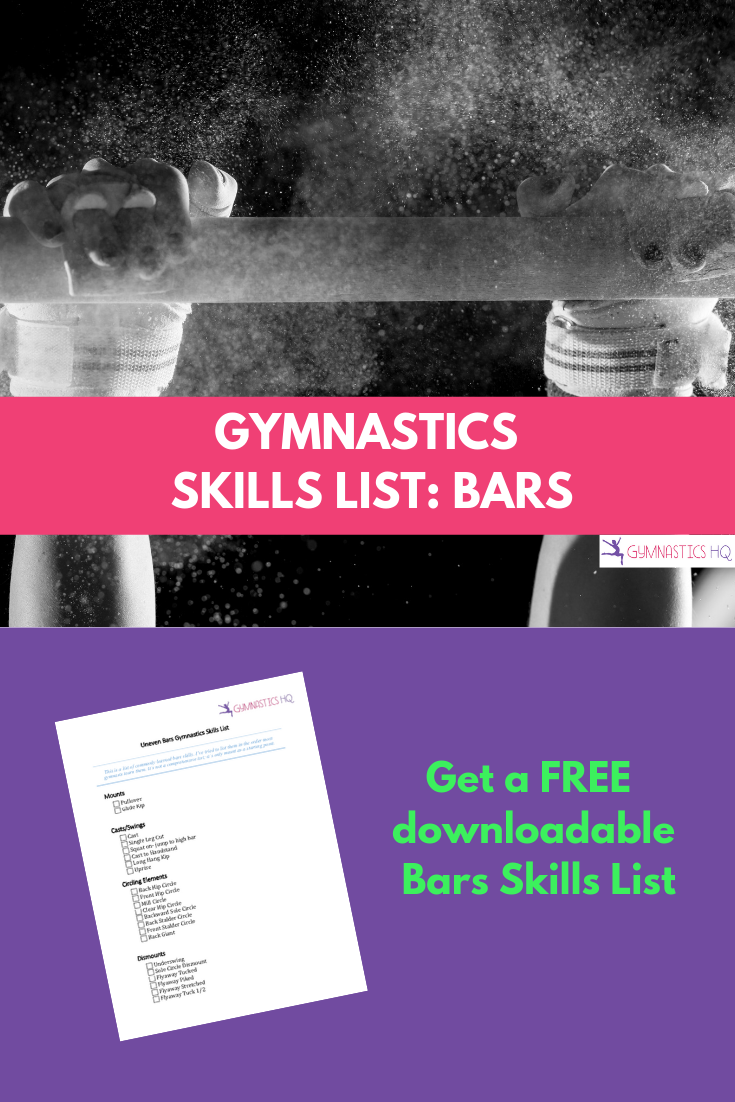 Gymnastics Skills List for Bars with free checklist