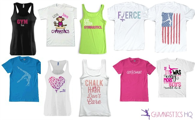 There are many different color choices. gymnastics gifts tshirts