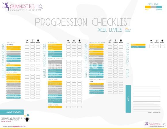 xcel gymnastics checklist