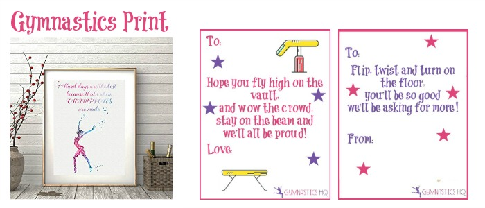 gymnastics print good luck gift