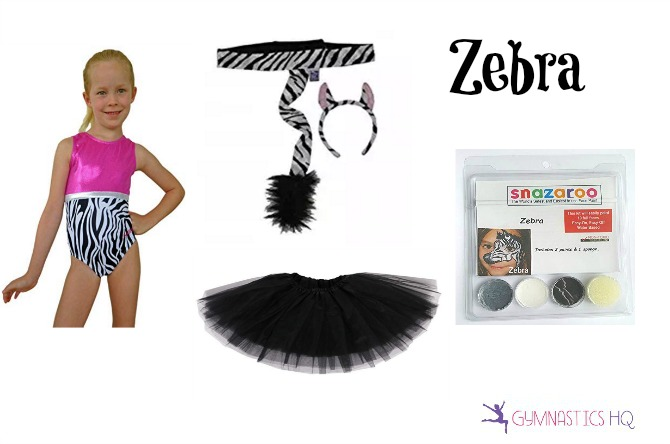 zebra halloween costume idea with gymnastics leotard
