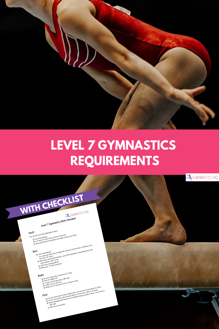 Level 7 Gymnastics Requirements explained with free checklist