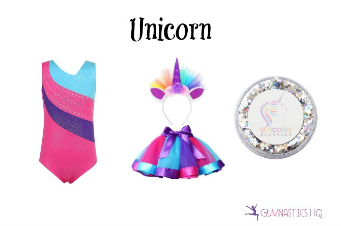 unicorn costume with gymnastics leotard