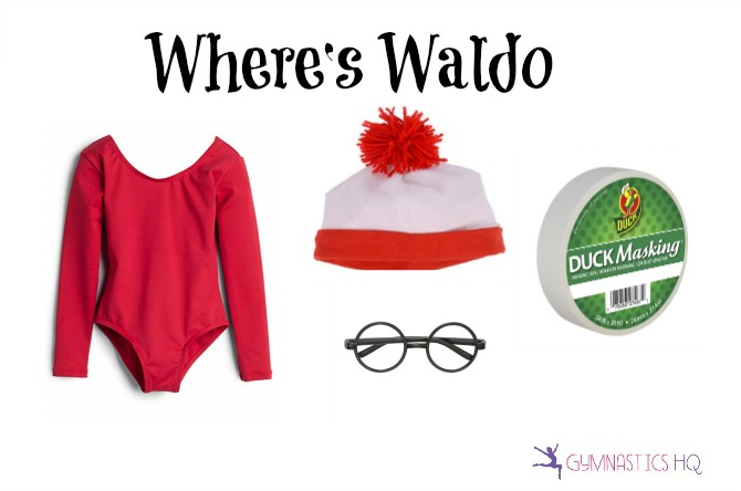 wheres waldo halloween costume with gymnastics leotard