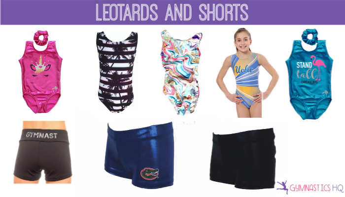 Gymnastics leotards and shorts gifts for gymnasts