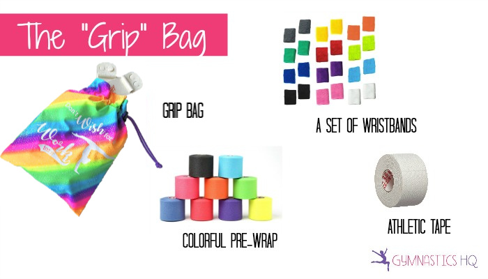 gymnastics birthday party favor idea- grip bag
