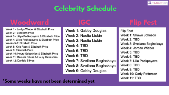 Gymnastics Sleepaway Camps Celebrity Schedule 2019