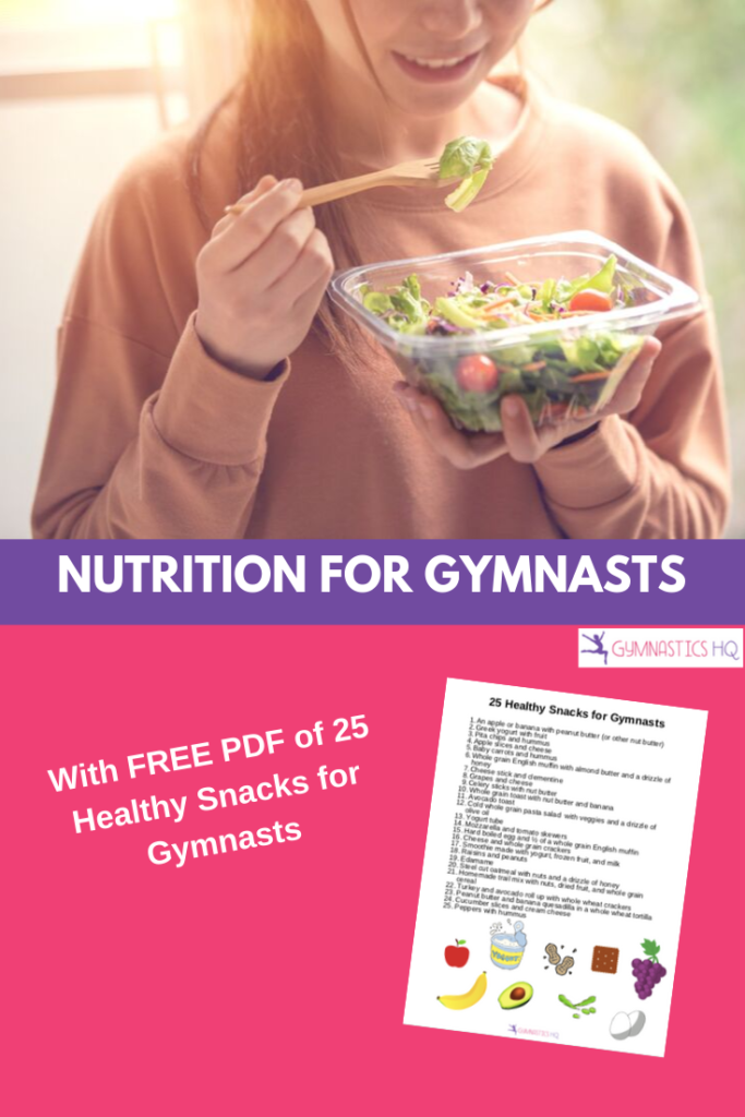 Nutrition for gymnasts with FREE PDF of 25 healthy snacks