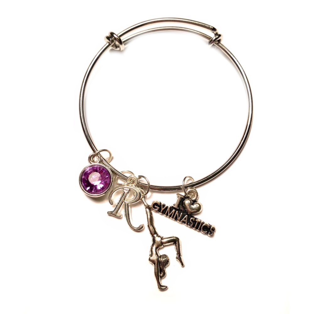This gymnastics bangle charm bracelet makes a great holiday gift!