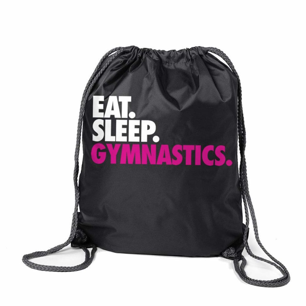 This black, white, and pink eat sleep gymnastics cinch bag makes a great holiday gift for your gymnast.
