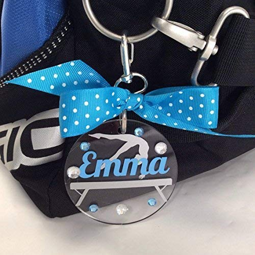 Personalized Gymnast on Beam Bag Tag makes a great holiday gift for your gymnast.
