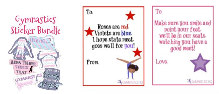 gymnastics good luck gift sticker bundle