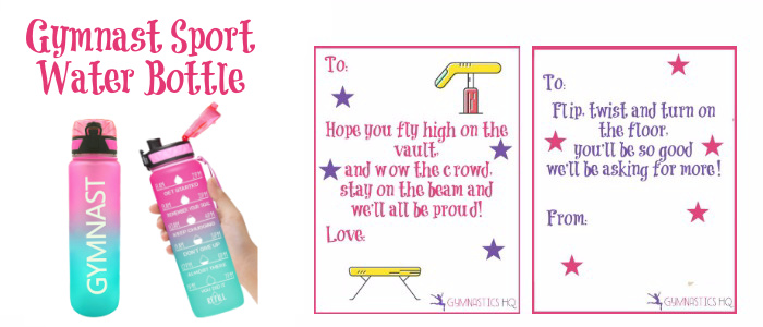 gymnastics print good luck gift water bottle