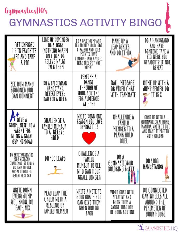 gymnastics activity bingo